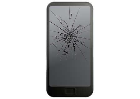 A regular modern day smart phone with a cracked glass screen on an isolated white studio background