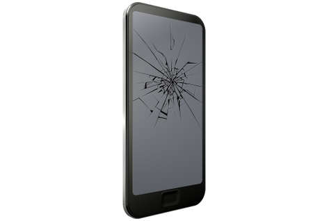 blank computer screen: A regular modern day smart phone with a cracked glass screen on an isolated white studio background