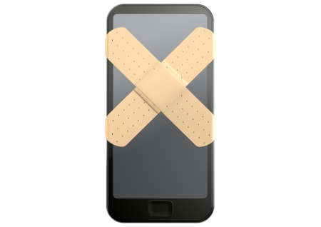 repaired: A regular modern day smart phone concept showing a criss cross of aids covering the screen symbolizing a repair on an isolated white studio background