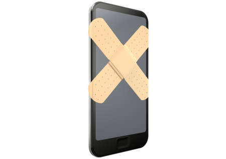 repaired: A regular modern day smart phone concept showing a criss cross of band aids covering the screen symbolizing a repair on an isolated white studio background