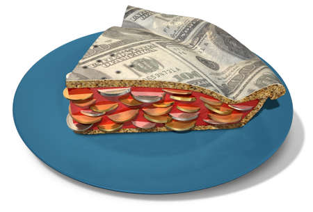 A concept of a sliced section of a regular baked pie with a crust made out of us dollar bank notes filled with a jam filling with coins on an isolated background photo
