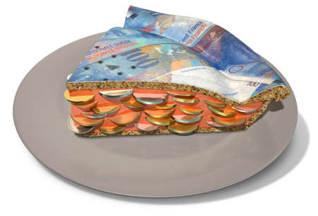 filling out: A concept of a sliced section of a regular baked pie with a crust made out of swiss franc bank notes filled with a jam filling with coins on an isolated background Stock Photo