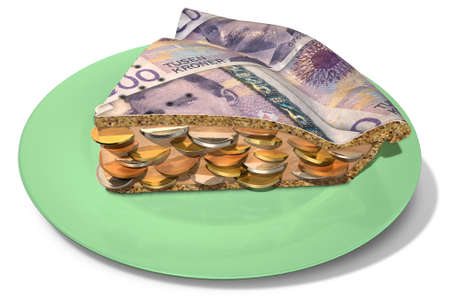 filling out: A concept of a sliced section of a regular baked pie with a crust made out of norwegian crown bank notes filled with a jam filling with coins on an isolated background