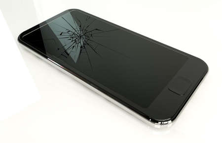 cracked glass: A regular modern day smart phone with a cracked glass screen on an isolated white studio background