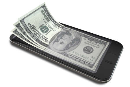 A concept image of a generic smart phone with digital on screen money changing into real us dollar banknotes signifying cell phone payment systems on an isolated white studio background photo