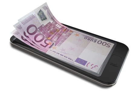 A concept image of a generic smart phone with digital on screen money changing into real euro banknotes signifying cell phone payment systems on an isolated white studio background photo