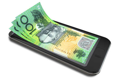 A concept image of a generic smart phone with digital on screen money changing into real australian dollar banknotes signifying cell phone payment systems on an isolated white studio background photo
