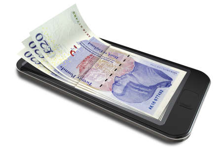 A concept image of a generic smart phone with digital on screen money changing into real british pound banknotes signifying cell phone payment systems on an isolated white studio background photo
