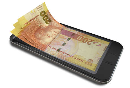 A concept image of a generic smart phone with digital on screen money changing into real south african rand banknotes signifying cell phone payment systems on an isolated white studio background photo