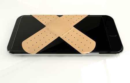 repaired: A regular modern day smart phone concept showing a criss cross of band covering the screen symbolizing a repair on an isolated white studio background