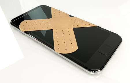 criss cross: A regular modern day smart phone concept showing a criss cross of band covering the screen symbolizing a repair on an isolated white studio background