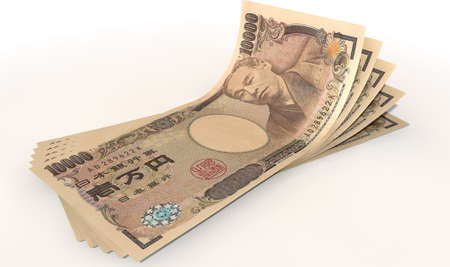 greenbacks: A group of five japanese yen banknotes fanned out and curved on an isolated white background Stock Photo