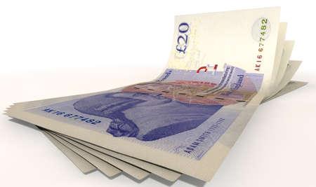 sterlina: Un gruppo di cinque banconote sterlina a ventaglio e curve su uno sfondo bianco isolato