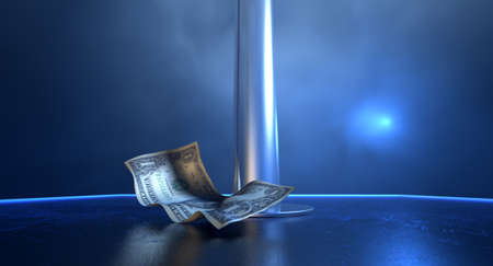 stripper pole: An isolated stripper pole on a stage lit by a single spotlight with only one crumpled up one dollar bill tip on a stripclub background Stock Photo