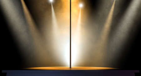 stripper pole: An isolated stripper pole on a stage lit by an array of spotlights on a dark background