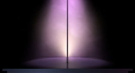 stage performer: An isolated stripper pole on a stage lit by a single pink spotlight on a dark background