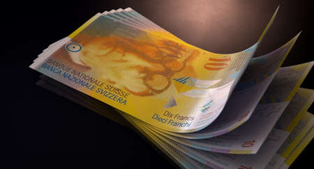 fanned: A group of five swiss franc banknotes fanned out and curved on an isolated white background