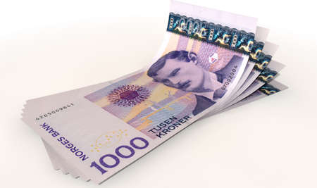 fanned: A group of five norwegian kroner banknotes fanned out and curved on an isolated white background