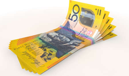 fanned: A group of five australian dollar banknotes fanned out and curved on an isolated white background