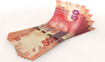 greenbacks: A group of five rand banknotes fanned out and curved on an isolated white background