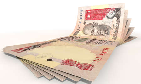 indian money: A group of five indian rupee banknotes fanned out and curved on an isolated white background Stock Photo