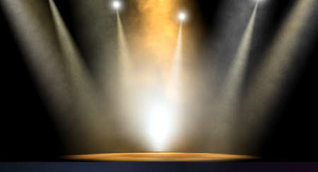 stage performer: An stage lit by an array of spotlights on a dark background