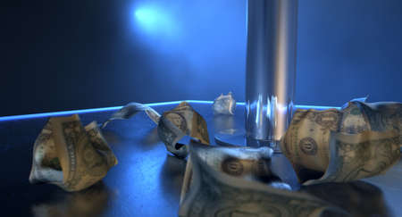 stripper pole: An isolated stripper pole on a stage lit by a single spotlight surrounded by crumpled up one dollar bill tips on a stripclub background Stock Photo