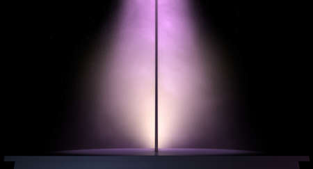 stripper pole: An isolated stripper pole on a stage lit by a single pink spotlight on a dark background