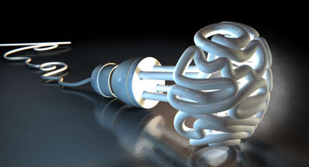 spotlit: An illuminated fluorescent light bulb in the shape of a stylized brain on a dark dramatic spotlit background
