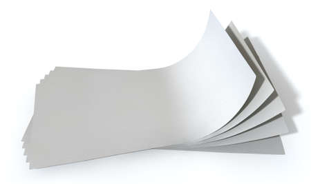 fanned: A group of generic blank banknotes fanned out and curved on an isolated white background