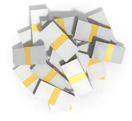 wads: A pile of randomly scattered wads of generic blank banknotes on an isolated background Stock Photo
