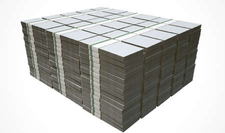 wads: A pile of wads of generic blank banknotes on an isolated background