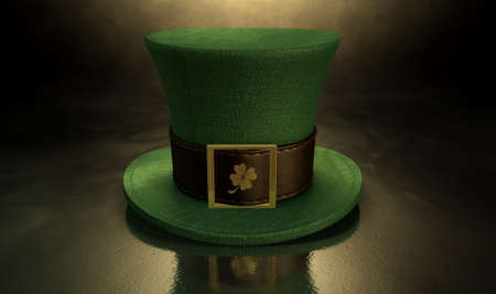 paddys: A green material leprechaun hat with a brown leather band emblazened with a gold shamrock and buckle on a dark spotlit background Stock Photo