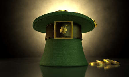 four leafed clover: A green material leprechaun hat with a brown leather band emblazened with a gold shamrock and buckle filled with gold coins on a dark spotlit background
