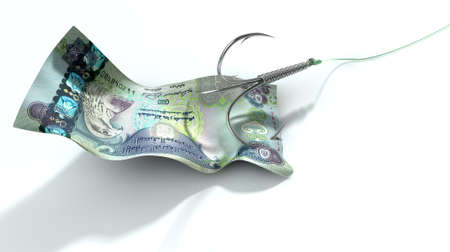 baited: A concept image showing a dirham banknote used as bait attached to a treble fishhook and fishing line on an isolated white background
