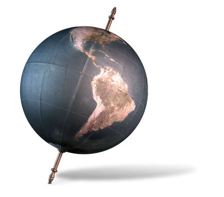 tilted: A vintage world globe tilted and standing on a central axis on an isolated white background