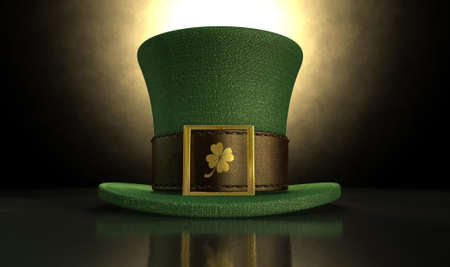 leprechaun background: A green material leprechaun hat with a brown leather band emblazened with a gold shamrock and buckle on a dark spotlit background Stock Photo