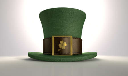 leprechaun: A green material leprechaun hat with a brown leather band emblazened with a gold shamrock and buckle on an isolated background
