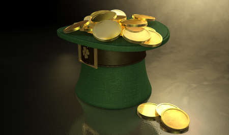 paddys: A green material leprechaun hat with a brown leather band emblazened with a gold shamrock and buckle filled with gold coins on a dark spotlit background
