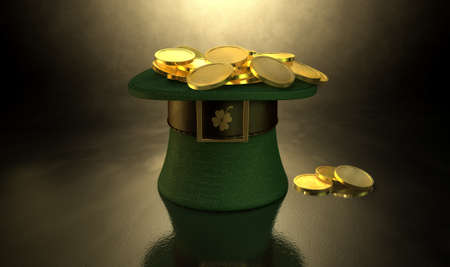 saint paddy's: A green material leprechaun hat with a brown leather band emblazened with a gold shamrock and buckle filled with gold coins on a dark spotlit background