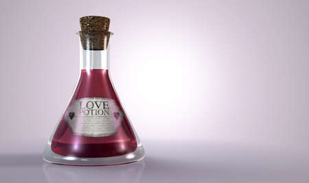 hocus pocus: A regular old goblet glass bottle filled with a pink liquid with a label showing it is love potion and sealed with a cork on an isolated background