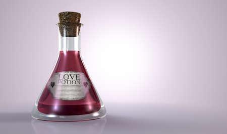 elixir: Una botella de vidrio ordinario copa viejo lleno de un líquido de color rosa con una etiqueta que muestra es la poción de amor y sellada con un corcho en un fondo aislado