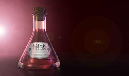 elixir: Una botella de vidrio ordinario copa viejo lleno de un líquido de color rosa con una etiqueta que muestra es la poción de amor y sellada con un corcho en un fondo rosado spotlit