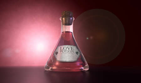 A regular old goblet glass bottle filled with a pink liquid with a label showing it is love potion and sealed with a cork on a spotlit pink background photo