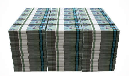 wads: A pile of wads of dirham banknotes on an isolated background Stock Photo