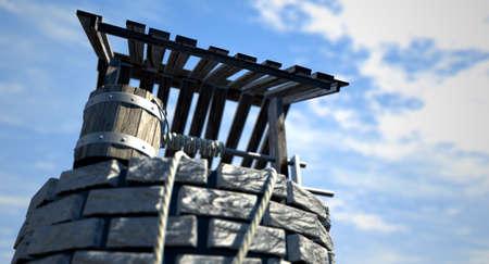 seau d eau: Une vue vers le haut d'un puits d'eau en briques avec un toit et seau en bois attaché à une corde dans un fond de ciel bleu