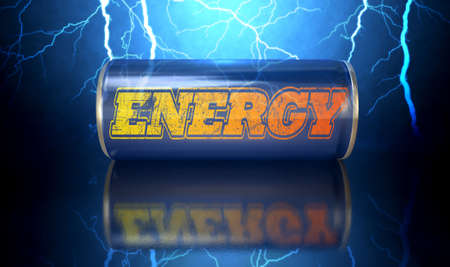 verve: A blue energy drink shaped tin can with the word energy written on it on an electric lightning storm background Stock Photo