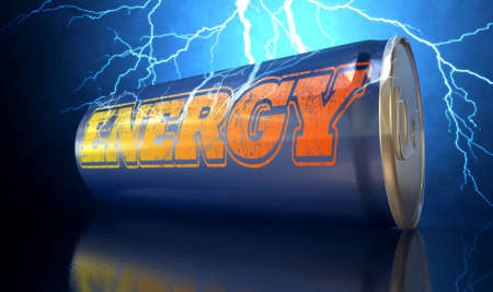 A blue energy drink shaped tin can with the word energy written on it on an electric lightning storm background Stock Photo