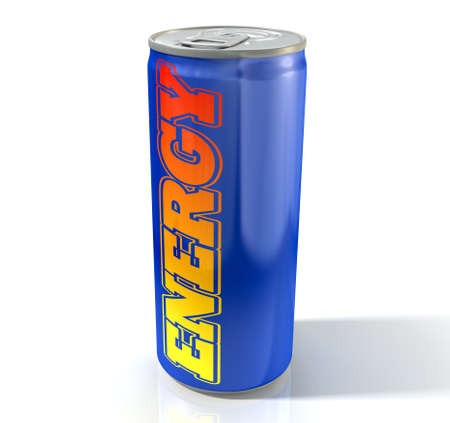 verve: A blue energy drink shaped tin can with the word energy written on it on an isolated white studio background Stock Photo