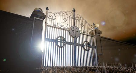 hereafter: The concept visual of the pearly gates to heaven infront of an ethereal spotlight Stock Photo